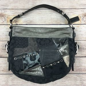 COACH Zoe Patchwork Black Gray Hobo Purse